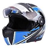 Casco de seguridad universal para motocicleta, casco integral azul para adultos, lente doble, antivaho(L)