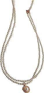 Necklaces أنيقة الرجعية الفرنسية طبقة مزدوجة الطبقة قلادة قلادة الإناث الترقوة سلسلة ميكس Necklace for Women