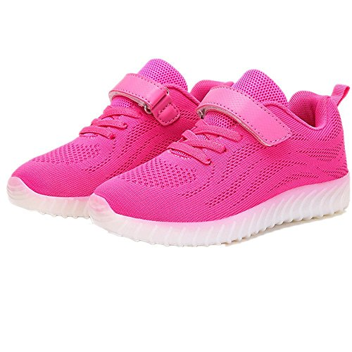 laideqi Kids LED Breathable Running Shoes USB Charing Light Up Luminous Sneakers for Boys Toddler Girls(Pink 25 EU/8.5 M US Toddler)