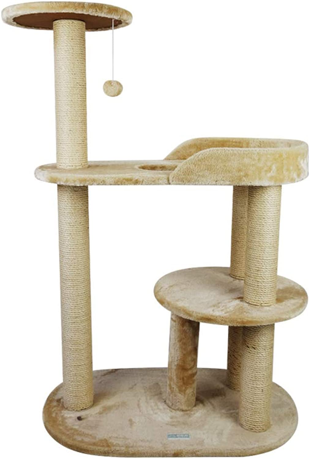 GCHOME Cat tree tower Cat Climbing Frame, Short Plush Fabric Sisal Cat Tree Tower Wear and Scratch Resistant (Beige) A2