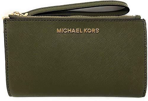 Michael Kors Jet Set Travel Double Zip Saffiano Leather Wristlet Wallet 2019 New Color (Duffle), Medium