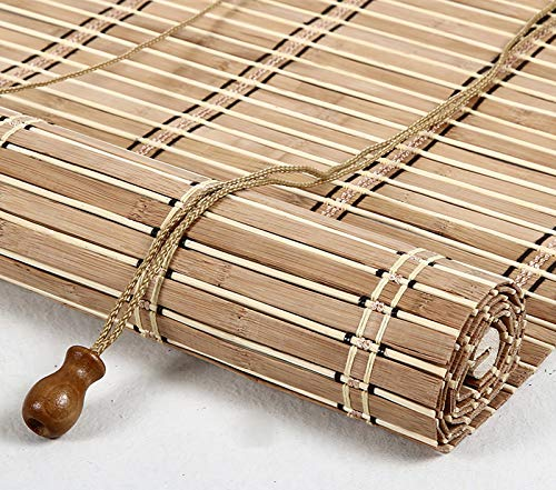 LLPEIJIE026 Tende a Rullo in bambù Naturale,Tende Romane Rustiche,Tende da Finestra,Persiane in Legno,Tende in Bamboo Tessute a Mano,per Balcone/Giardino/Uso Esterno (70x160cm/28x63in)