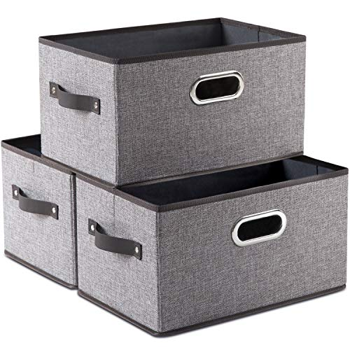 Prandom Large Foldable Storage Bins for Shelves 3-Pack Decorative Linen Fabric Storage Baskets Cubes with LeatherMetal Handles for Closet Nursery Office Grey and Black Trim 149x98x83 Inch