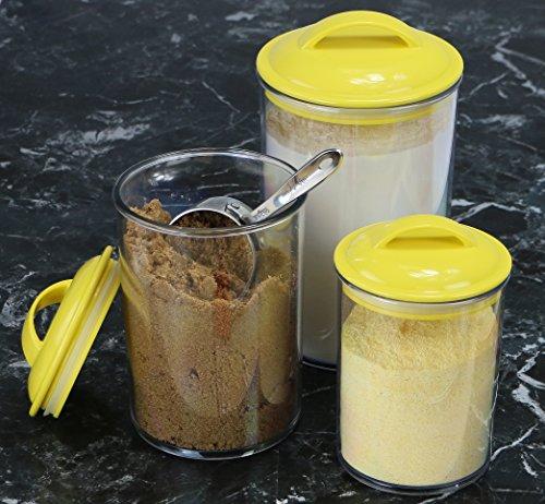 Calypso Basics by Reston Lloyd Acrylic Storage Canisters, Set of 3, Lemon