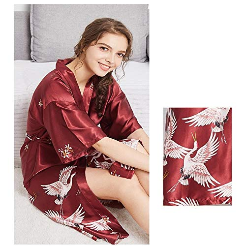 SHISAIGOU Seide Hochzeit Pyjamas Female Summer Long Section Bride Morgen Robe Bridesmaid Red Startseite Robe Riemchen Baggy Jumpsuit Kleid Top Playsuit Cami (Color : Red Wine Silk, Size : M)