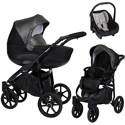 KUNERT Kinderwagen MASTER Sportwagen Babywagen Autositz Babyschale Komplettset Kinder Wagen Set 3 in 1 (Schwarz mit Blitz, Rahmenfarbe: Schwarz, 3in1)