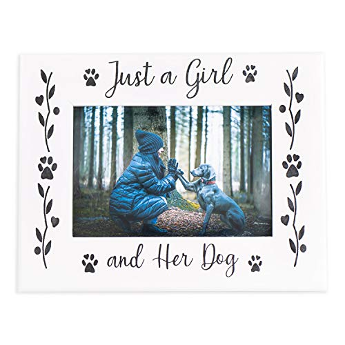 Dog Picture Frame Gifts for Dog Lovers, Wooden Black and White Dog Photo Frame, Hold a 4X6 Picture, Pet Memorial Picture Frame for Girls, Farmhouse Decor Dog Decor