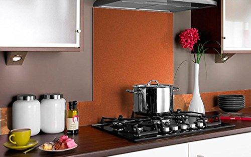 Vidriopanel Copete DE Vidrio Color Metalizado para frentes de cocinas en Diferentes Medidas/Zócalo de Encimera antisalpicaduras en Cristal (40cm x 14cm, Naranja Metalizado)