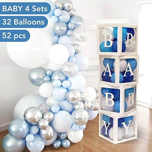 Baby Shower Decorations for Boy - 52PCS Jumbo Transparent Baby Block Balloon Box with Letters Includes White, Gray and Baby Blue Balloons | Gender Reveal Decor Perfect for 1st Birthday Party, Newborn Photos, Baptisms, Pregnancy Announcements