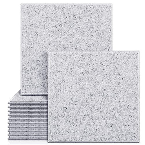 """Upgraded 12 Pack Acoustic Panels Sound Proof Foam Panels Sound Proof Padding, 12""""X12""""X 0.4"""" High Density Bevled Edge Sound Panel, Idea for Acoustic Treatment & Wall Decoration (Grey)"""