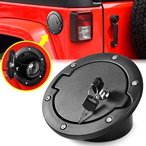 Aukmak Fuel Filler Door Locking Gas Tank Cap Cover for Jeep Wrangler Accessories 2007-2018 JK Unlimited Rubicon Sahara