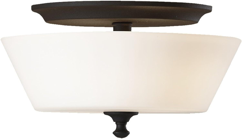 Feiss FM354BK Peyton Glass Flush Mount Ceiling Lighting, Black, 2-Light (13 Dia x 7 H) 200watts