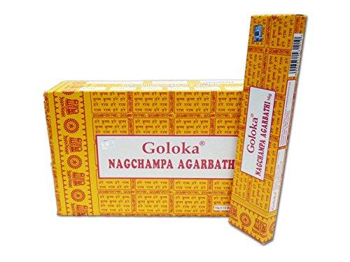 Goloka Nagchampa Agarbathi, incenso, Bambù, Confezione da 12 x 16 gr