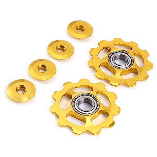 Stylrtop 2 pcs Bike 11T Aluminum Sealed Bearing Jockey Wheel Rear Derailleur Pulleys Fit Shimano SRAM (Golden)