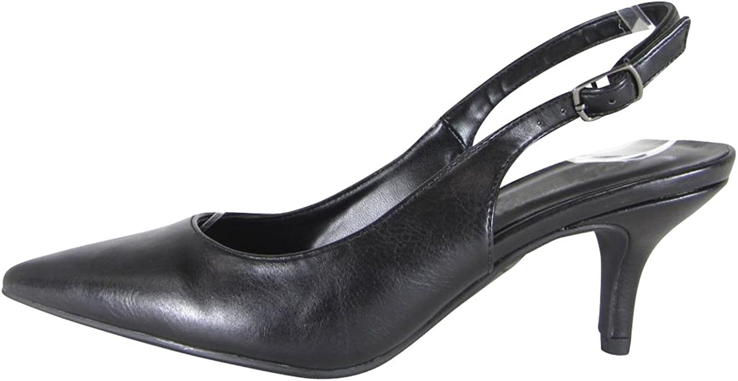 Cambridge Select Women's Closed Pointed Toe Buckled Ankle Slingback Mid Kitten Heel Pump