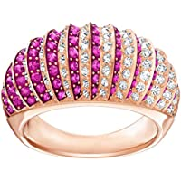 Swarovski Luxury 18k Rose Gold-Plated Pink Clear Crystal Ring