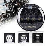 """5-3/4 5.75"""" LED-Motorrad-Scheinwerfer mit weißem DRL Aluminiumlegierung Fahrscheinwerfer for Harley Davidson Sport Eisen 883 Dyna Indian Scout"""