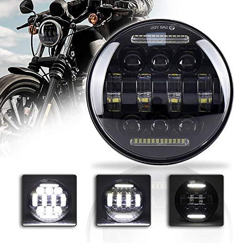 """5-3/4 5.75\"""" LED-Motorrad-Scheinwerfer mit weißem DRL Aluminiumlegierung Fahrscheinwerfer for Harley Davidson Sport Eisen 883 Dyna Indian Scout"""