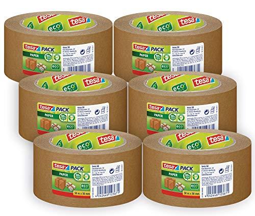 tesapack Paper ecoLogo im 6er Pack - Umweltgerechtes Paketband aus Papier, 60 Prozent biobasiertes Material - Braun - 6 Rollen je 50 m