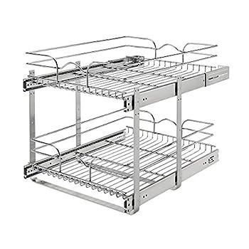 Rev-A-Shelf 5WB2-1822CR-1 18 x 22 Inch 2-Tier Wire Basket Pull Out Shelf Storage for Kitchen Base Cabinet Organization Chrome
