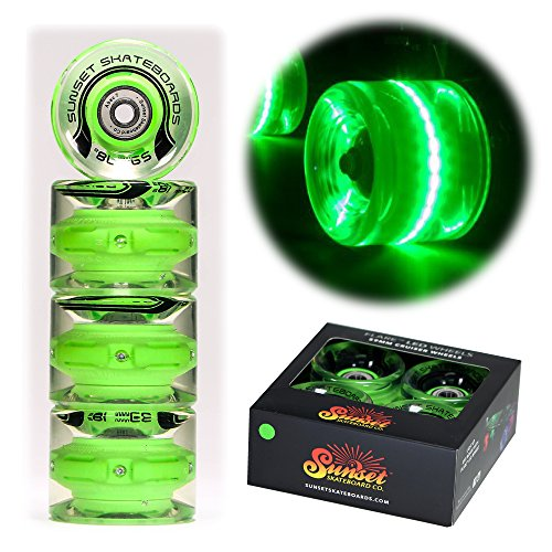 Sunset Skateboard Co. 59mm 78a LED Light-Up Cruiser Wheels (4-Pack) with ABEC-7 Carbon Steel Bearings for Glow-in-The-Dark, All Ages & Skill Levels Skating Fun with No Batteries Required (Green)
