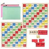 liuer 2PCS Tabla de Multiplicación,Juego Tablas de Multiplicar,Abacos Juguetes de Madera Montessori Aprendizaje de Matemáticas Juegos de Logica Juguetes Educativos Regalos para Niños de 3 4 5 6 Años