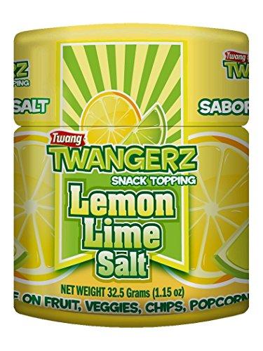 Twang Twangerz Flavored Salt Snack Topping - Lime, Lemon Lime, Chili Lime & Dill Pickle (Lemon Lime, 4 Pack)
