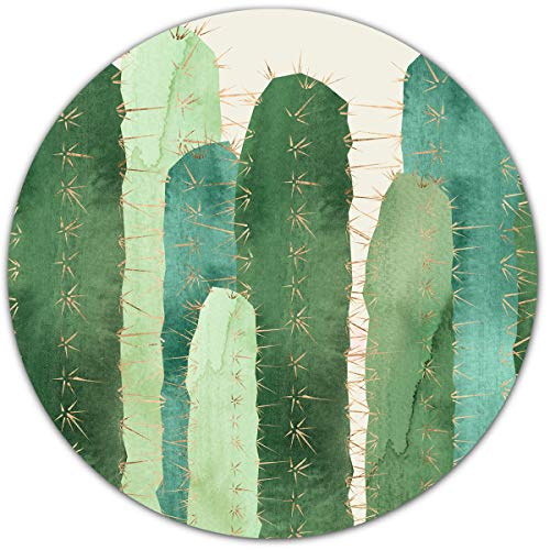 Pretty Green Watercolor Round Mouse pad, Cactus Cacti Cereus Prickly Pear Design,Office Mouse Pad…