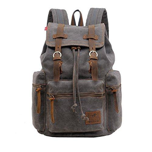 Canvas Rucksack, P.KU.VDSL-AUGUR REIHE Vintage Multifunktionstasche Canvas Schulrucksack Backpack für Herren Damen Outdoor Sports Reise Wandern Bergsteigen (A - Grau - Groß)