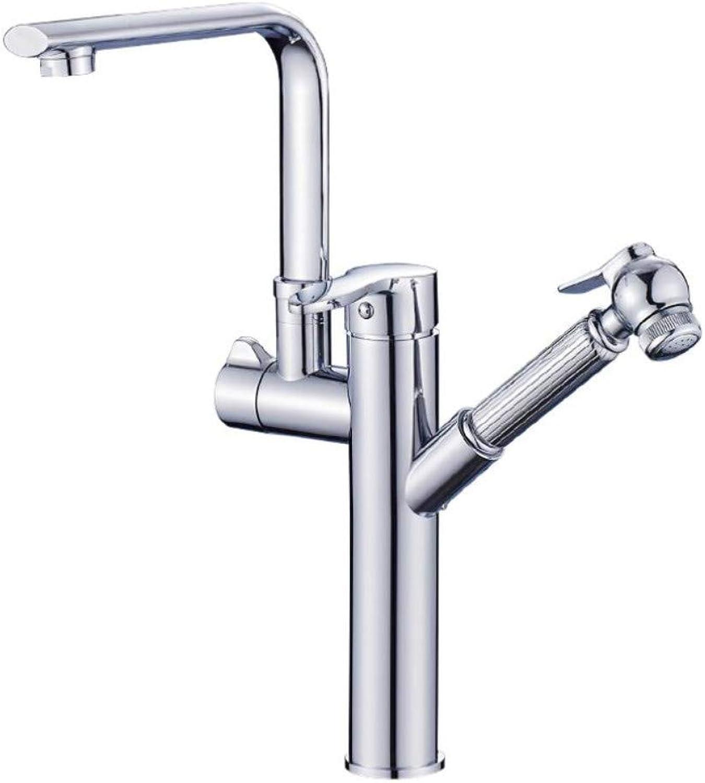 Wasserhahn Vollkupfer-Becken-High-End-Wasserhahn Mischwasser-Gebürstetes Waschbecken Kann Den Wasserhahn Ziehen