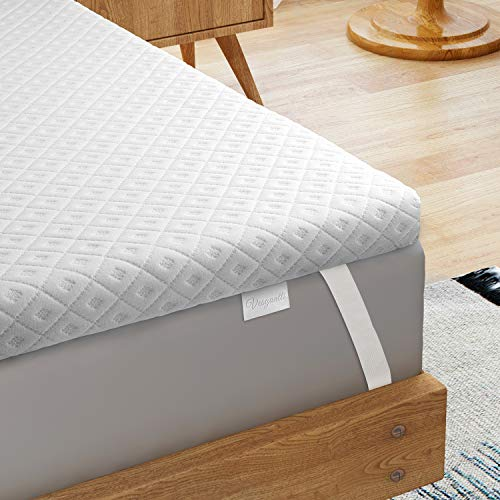 Vesgantti 5CM Memory Foam Mattress Topper King Size Bed, Gel Infused Memory Foam Bed Mattress Topper with Washable Cover - 150 x 200, White
