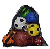Taleguilla, hombro extra grande a prueba de agua bolsa de malla Equipo Pesado de la bola neta bolsa de Baloncesto Voleibol Fútbol Alfombra bola bolsa de asas de lazo neto Bolsa unisex-black