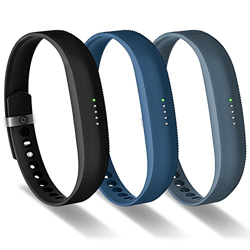 Greeninsync Compatible with Fitbit Bands for Flex 2, Adjustable Soft Silicone Sports with Fastener Clasp Fitness Replacement Wristband Strap for Fitbit Flex 2 Smart Watch Large Women Girls Men(3Pack)