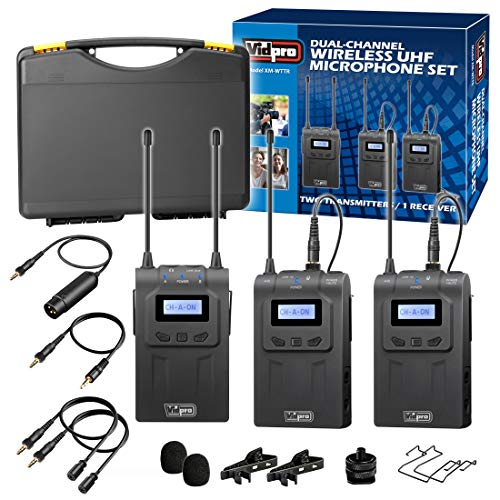 of vidpro wireless mics Vidpro XM-WTTR Dual Channel UHF Wireless Lavalier Microphone Set with 2 Transmitter Body-Packs and 1 Receiver Unit Combining Audio Streams in 2-Person Interviews, ENG/EFP and DSLR Video Recording