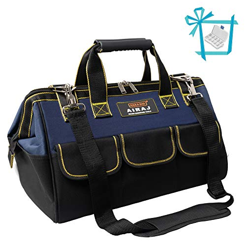 AIRAJ 13 in Tool Bag with Adjustable Shoulder Strap and MINI Parts Box, the Top Open Fabric Tool Bag Has Pockets Inside to Storage Power/Hand Tools