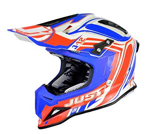Just 1 Helmets - Casco Motocross J12, Rosso/Blu, XL