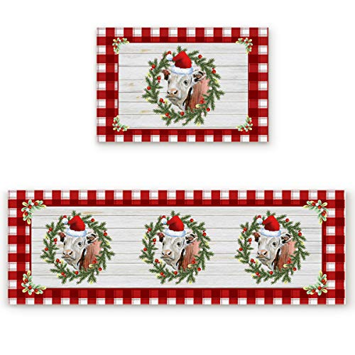 Queener Home Christmas Wreath with Cow Wood Grain Kitchen Rugs and Mats Set of 2, Washable Floor Doormat Comfort Area Runner Rug Non-Slip Rubber Backing for Indoor Red and White Grid