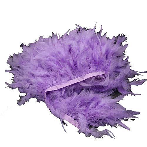 MELADY 2yards Turkey Feathers Fringe Trim Fashion Dress Sewing Crafts Costumes Decoration (Lavender)