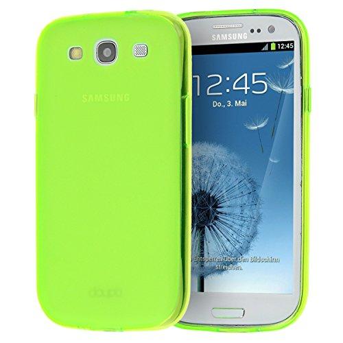 doupi PerfectFit TPU Custodia per Samsung Galaxy S3, Tappi di Polvere incorporatin Mat Trasparente Cover, Verde