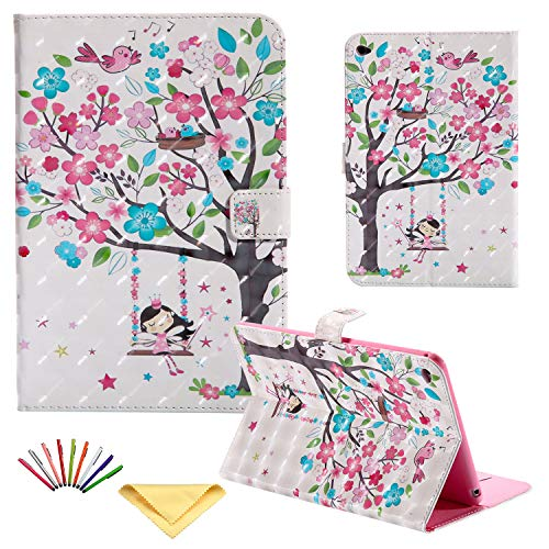 Uliking Folio Case for Apple iPad Mini 4 (7.9'), Magnet Smart Synthetic Leather Cover Folding Stand TPU Back Shockproof Shell 3D Print Wallet with Auto Wake/Sleep Card Holder Pocket, Flower Girl