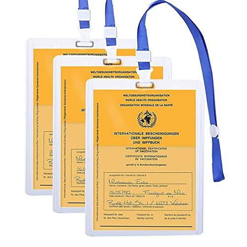 Funda para pasaporte de vacunación, funda para pasaporte de vacunación Mizijia 1X para adultos con pasaporte de vacunación de 93 * 130 mm -Transparente e impermeable -con cordón. (3X)