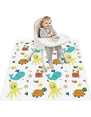 Plartree Stänkmatta för barnstol, 51 tum vattentät halkfri babystänkmatta avvänjning picknick lekmatta, tvättbar mat stänk matta för hög stol/konst/hantverk, spelmatta/grotta/krypmatta (hav)