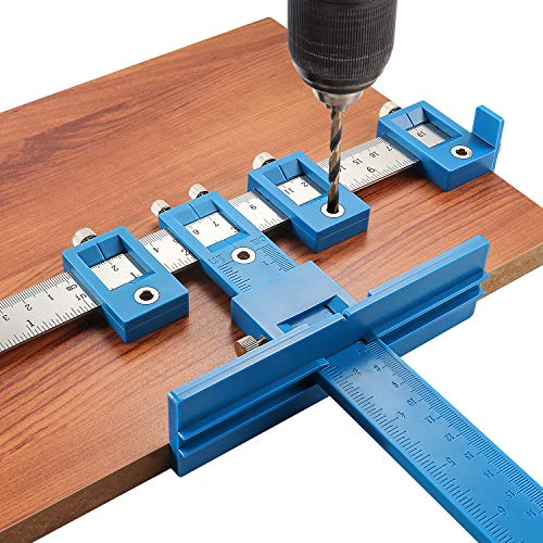 Cabinet Hardware Jig Tool - Adjustable Punch Locator Drill Template Guide, Wood Drilling Dowelling Guide for Installation of Handles Knobs on Doors and Drawer