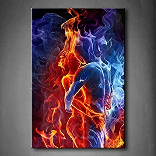 Red Fire Hot Couple Kiss Each Other Blue Yellow Man and Woman Wall Art Painting The Picture Print On Canvas People Pictures for Home Decor Decoration Gift (Stretched by Wooden Frame,Ready to Hang)