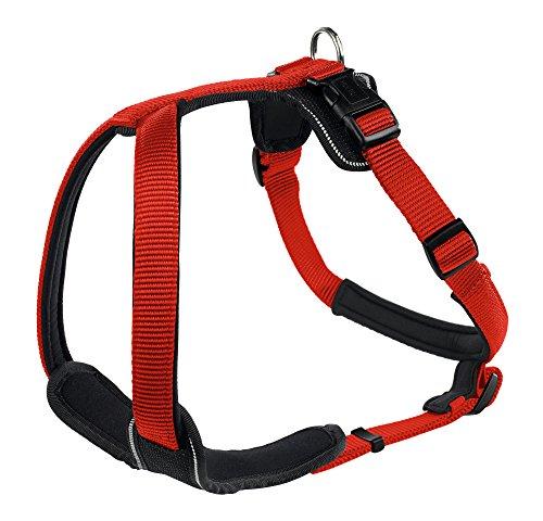 HUNTER NEOPREN Hundegeschirr, Nylon, gepolstert mit Neopren, für Sport und Freizeit L, rot/schwarz