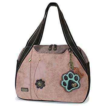 Chala Handbags Dust Rose Shoulder Purse Tote Bag with Dog Key Fob/coin purse  Paw