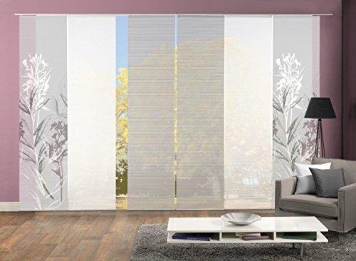 Vision S 96653-0307 | 6er-Set Schiebegardine SEMORA | halb-transparenter Stoff in Bambus-Optik | 6X 260x60 cm | Farbe: Grau