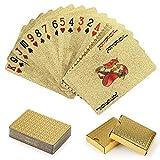 O-Kinee Cartas de Juego de Plastico, 2PCS Cartas Poker, Baraja Poker Juego de Mesa, Juegos Impermeable Juego de Mesa de Naipes de Plástico Resistente a Las lágrimas Oro, Cartas Poker Profesional