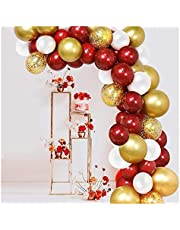 JJSCCMDZ ballongbåge 102 st röd ballong girlang båge kit guldkonfetti transparent ballong vit ballong för bröllop födelsedagsfest festdekoration (färg: 102 st)