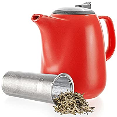 Tealyra - Daze Ceramic Large Teapot Red - 47-ounce (6-7 cups) - With Stainless Steel Lid Extra-Fine Infuser for Loose Leaf Tea - 1400ml